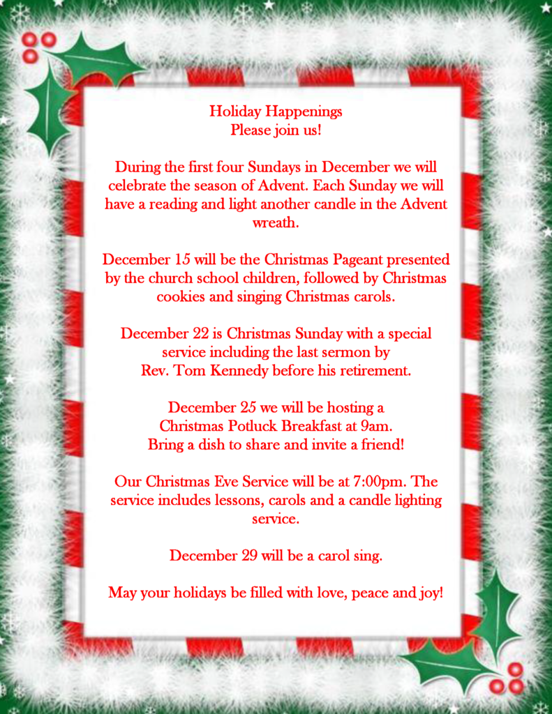 a flyer for the upcoming holiday schedule