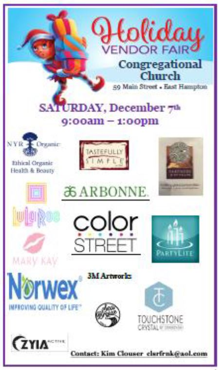 vendor fair flyer on 12/7 from 9am-1pm at the Congregational Church of East Hampton, CT