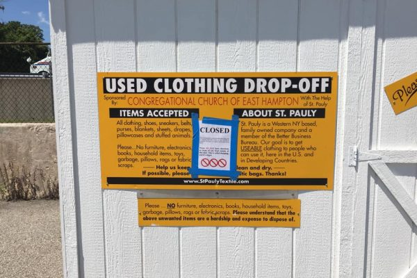 front of clothing drop-off shed that is temporarily closed