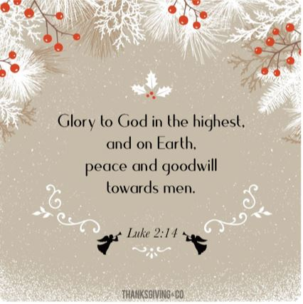 Glory to God in the highest and on Earth, peace and goodwill towards men. Luke 2:14