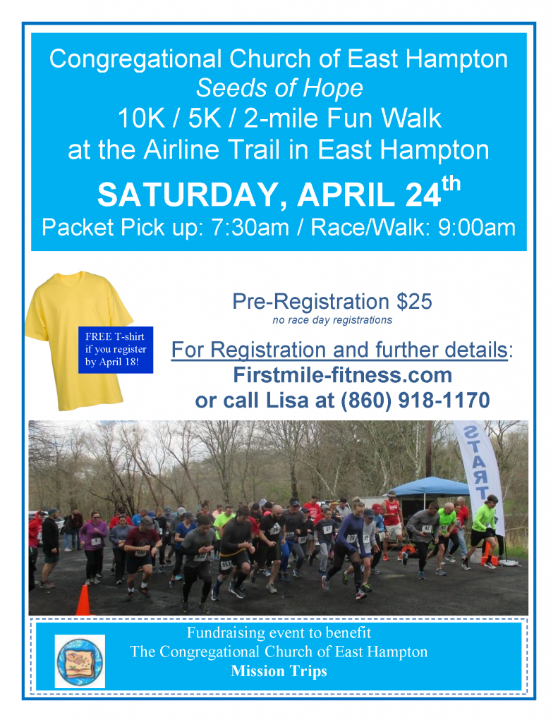 Seeds of Hope road race flyer for April 24th at 9am
