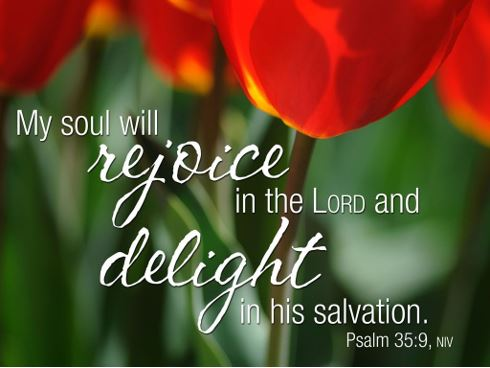 My soul will rejoice in the Lord and delight in his salvation. Psalm 35:9 NIV