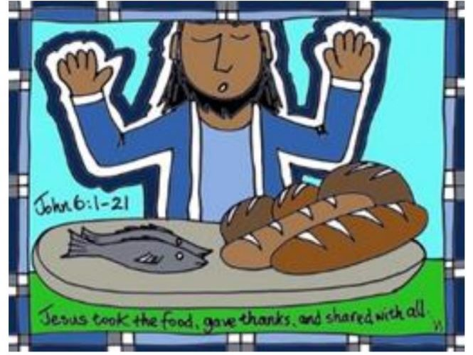 Jesus took the food, gave thanks, and shared with all. John 6:1-21