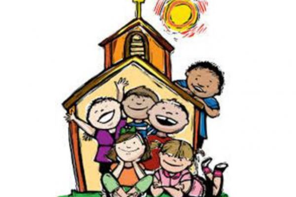cartoon image of kids in front of a church